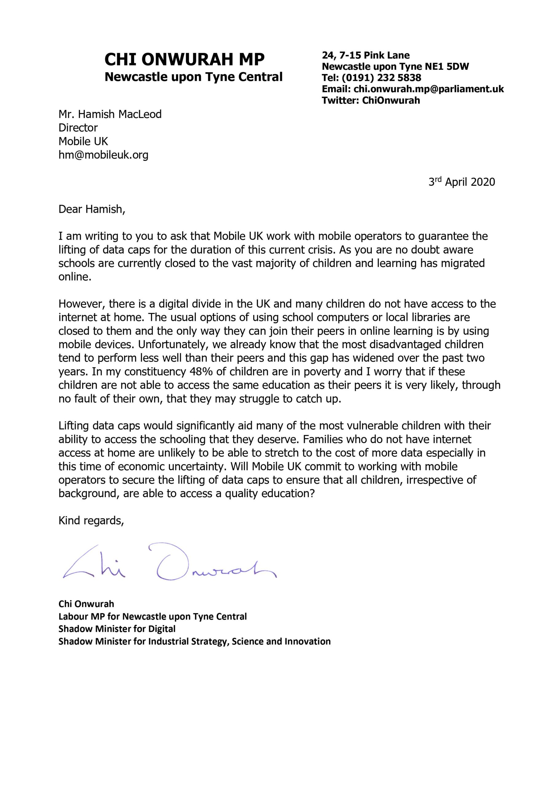 Chi writes to Hamish MacLeod of Mobile UK calling for data caps to be lifted