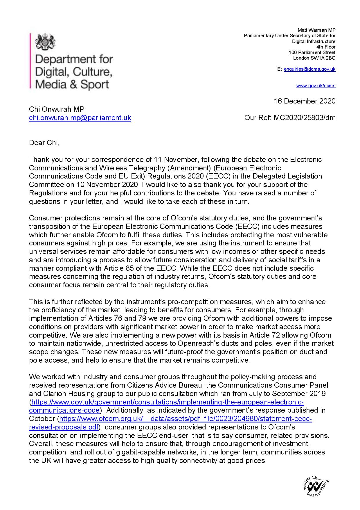 Government response to Chi's questions following the debate on the Electronic Communications and Wireless Telegraphy (Amendment) (European Electronic Communications Code and EU Exit) Regulations 2020 (EECC)