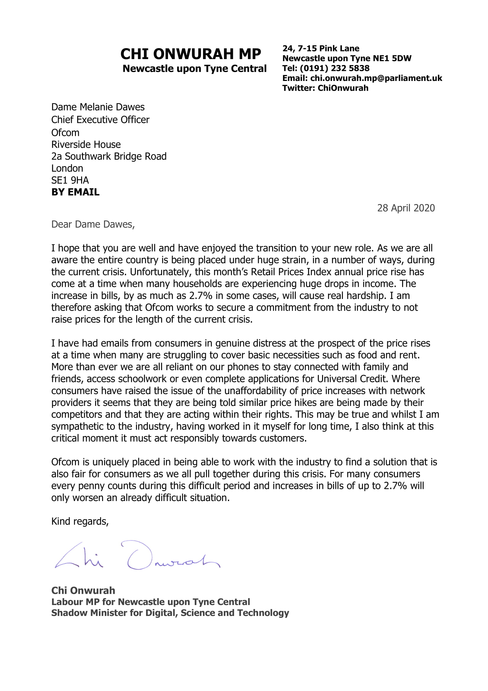 Chi writes to Ofcom CEO to stop price increases during covid-19