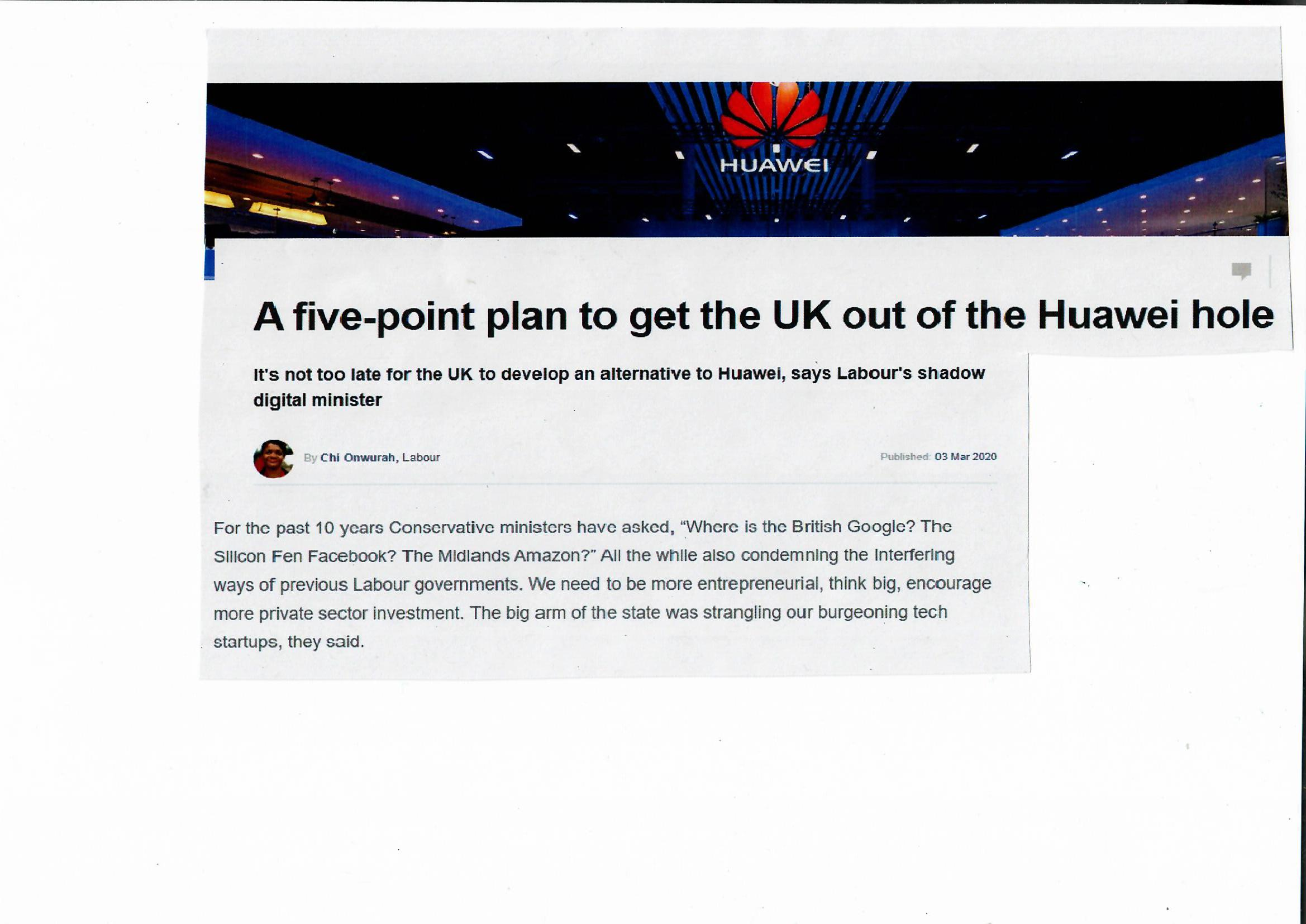 A five-point plan to get the UK out of the Huawei hole