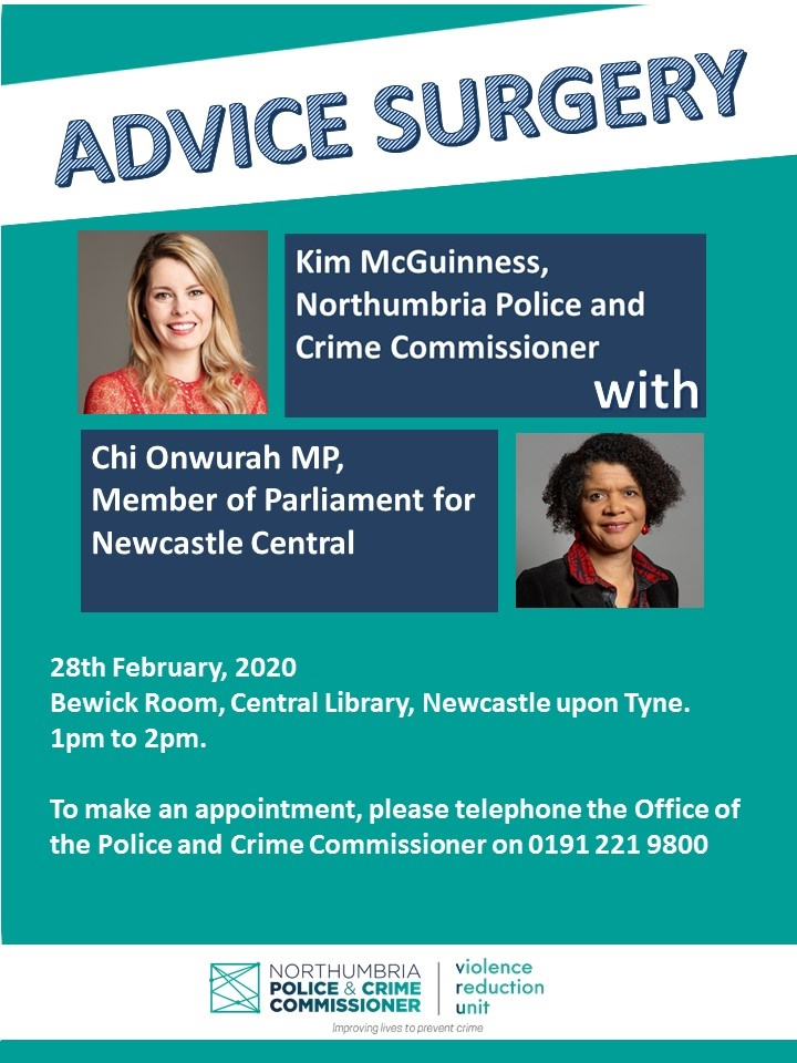 Surgery with Kim McGuiness, Northumbria Police & Crime Commissioner on 28th February 2020