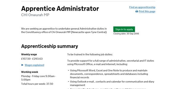 Apprentice Administrator – application invited by 30th September