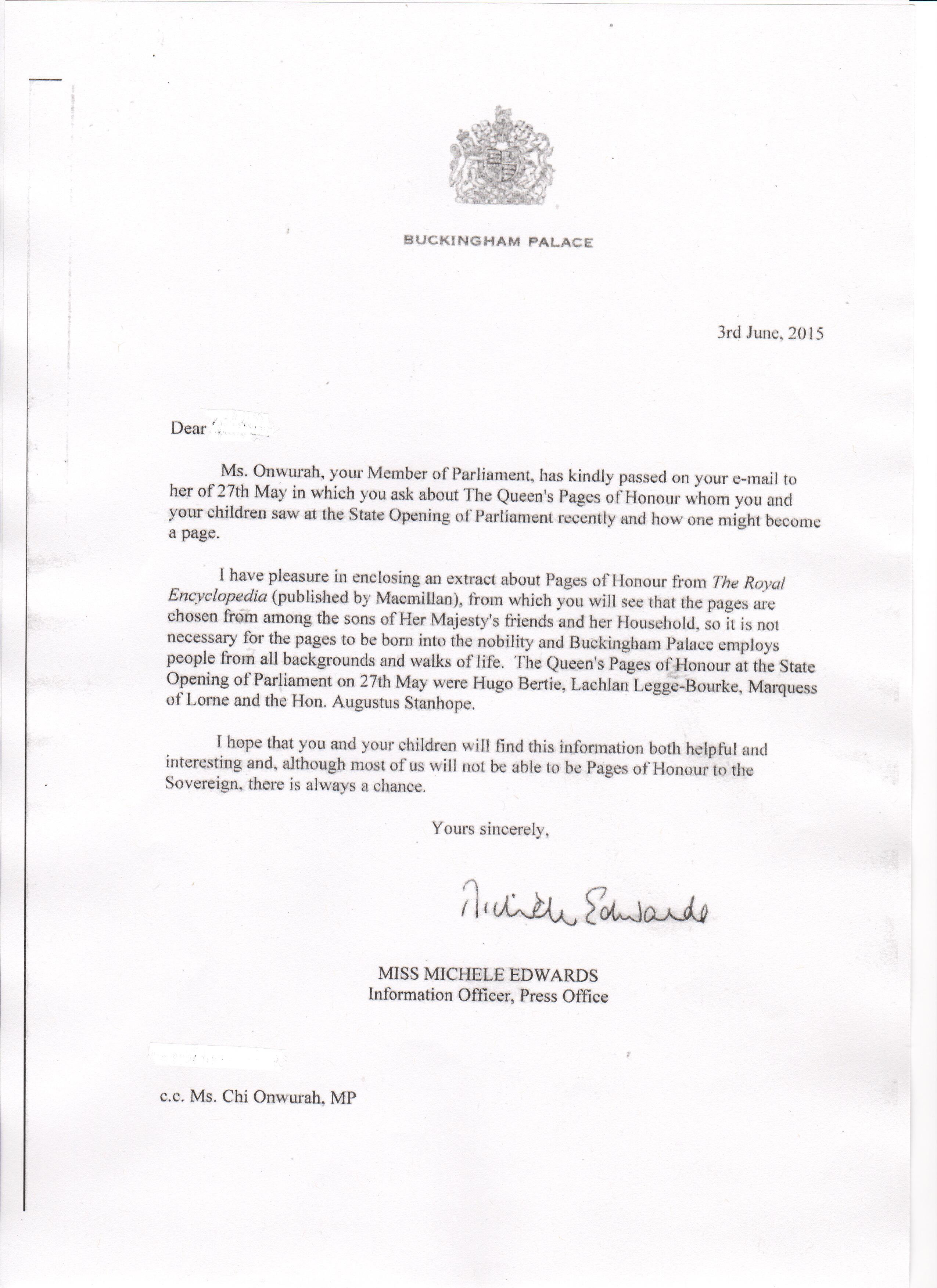 Buckingham Palace Letter Re Queens Pages Of Honour