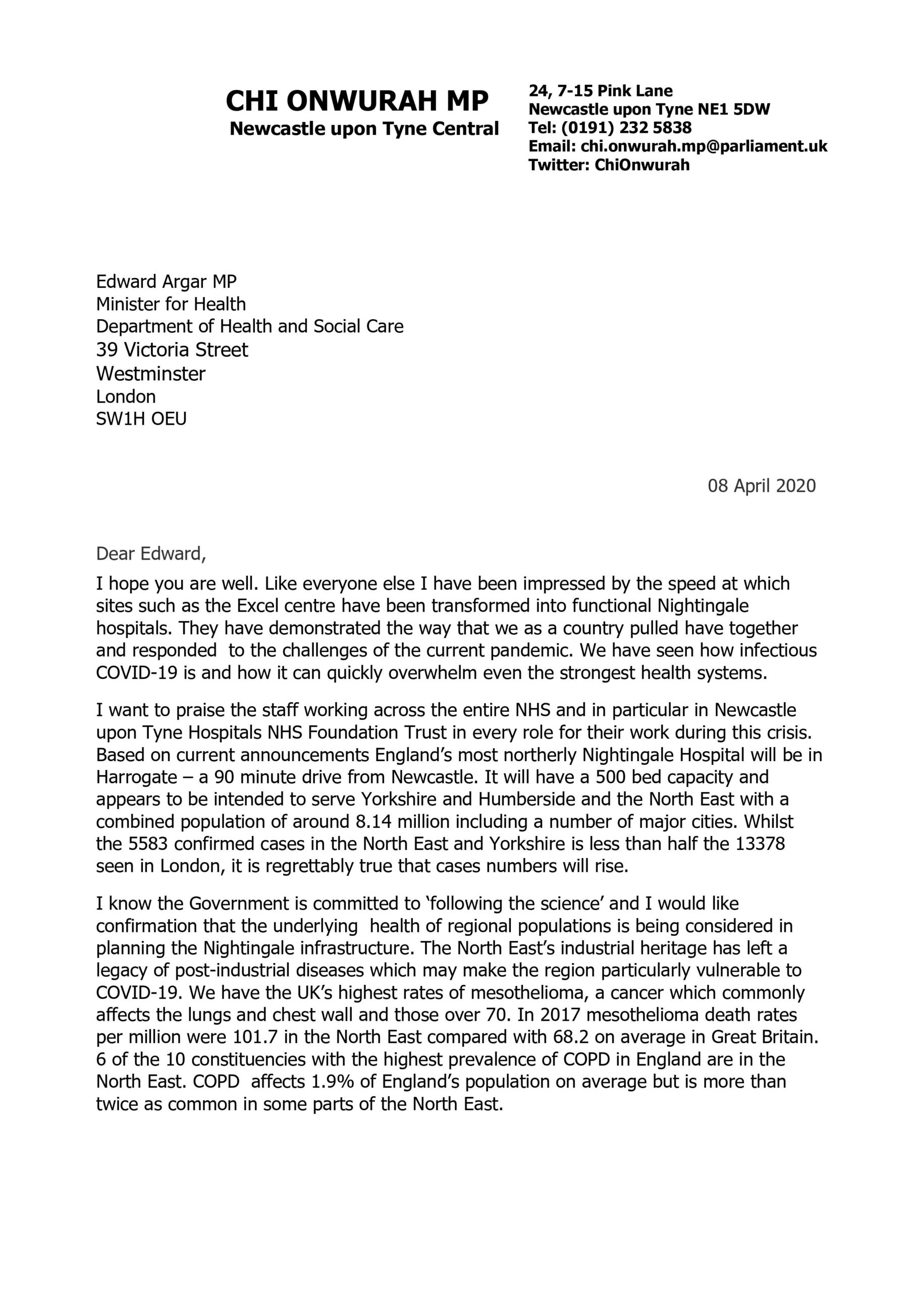 Chi writes to the Health Minister regarding underlying health inequality in the North East