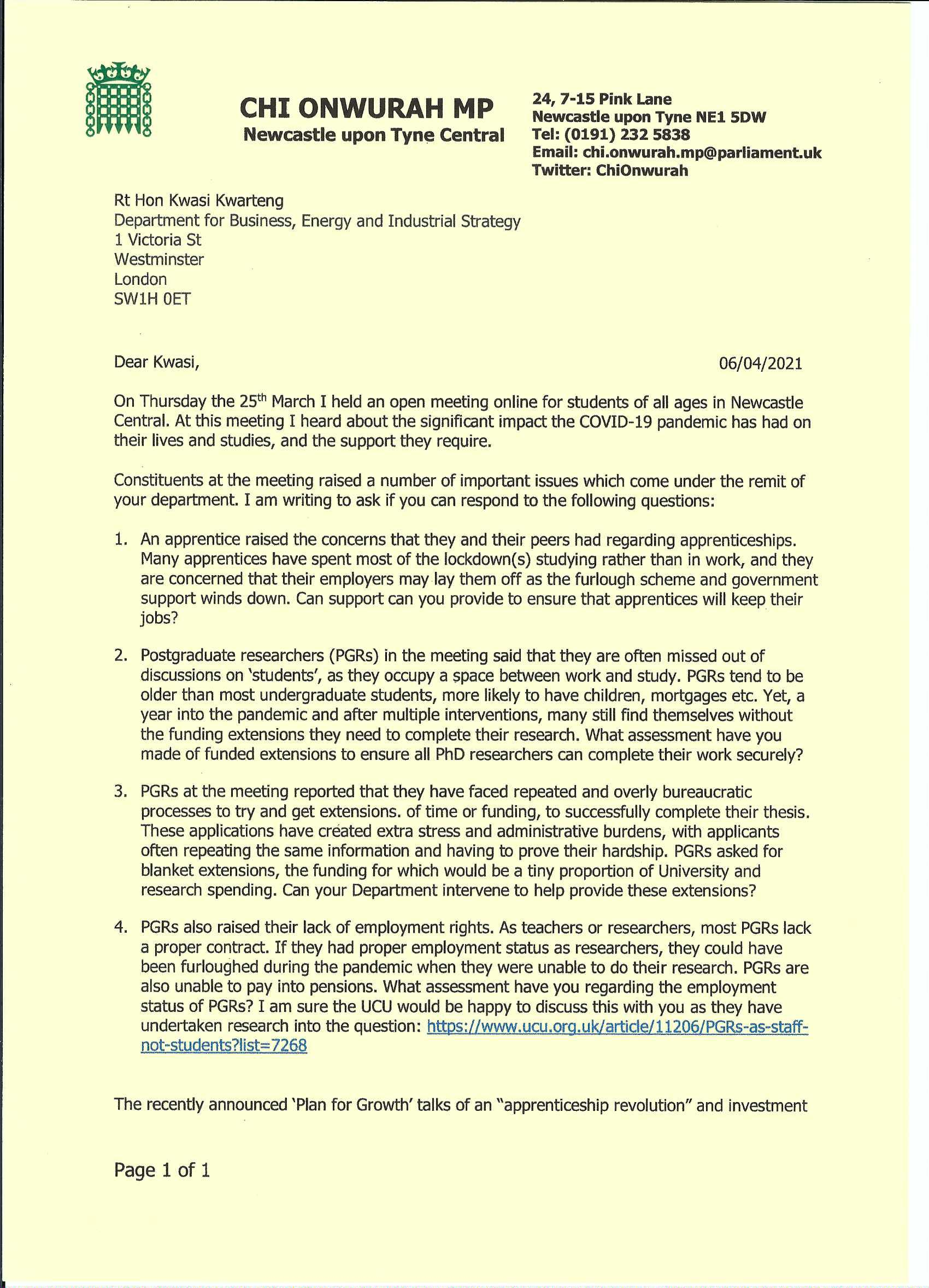 Letter to Kwasi Kwarteng Secretary of State for Business, Energy & Industrial Strategy taking up issues after an open online meeting with students