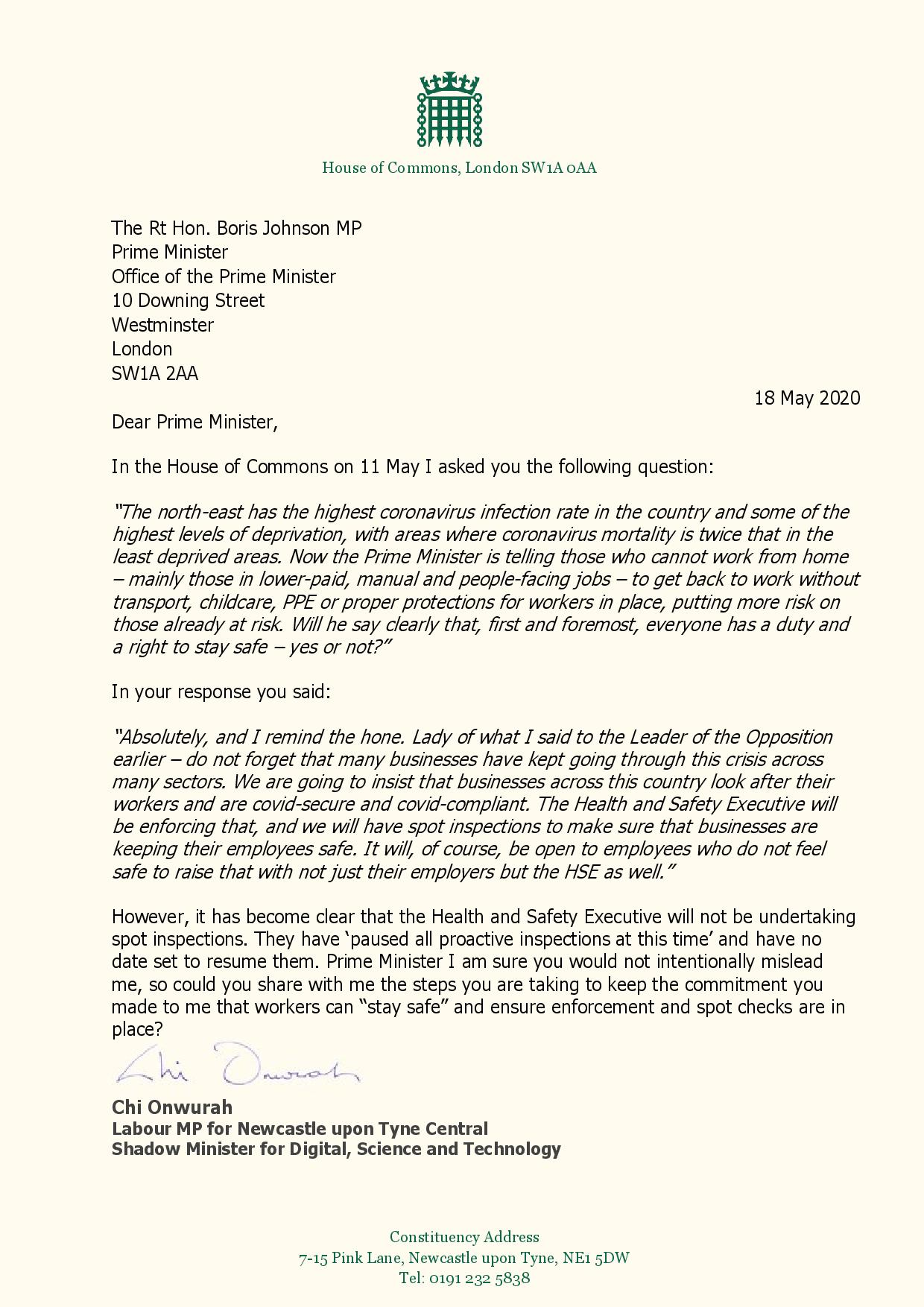 Chi writes to the Prime Minister to seek assurances over Health and Safety Executive spot checks.