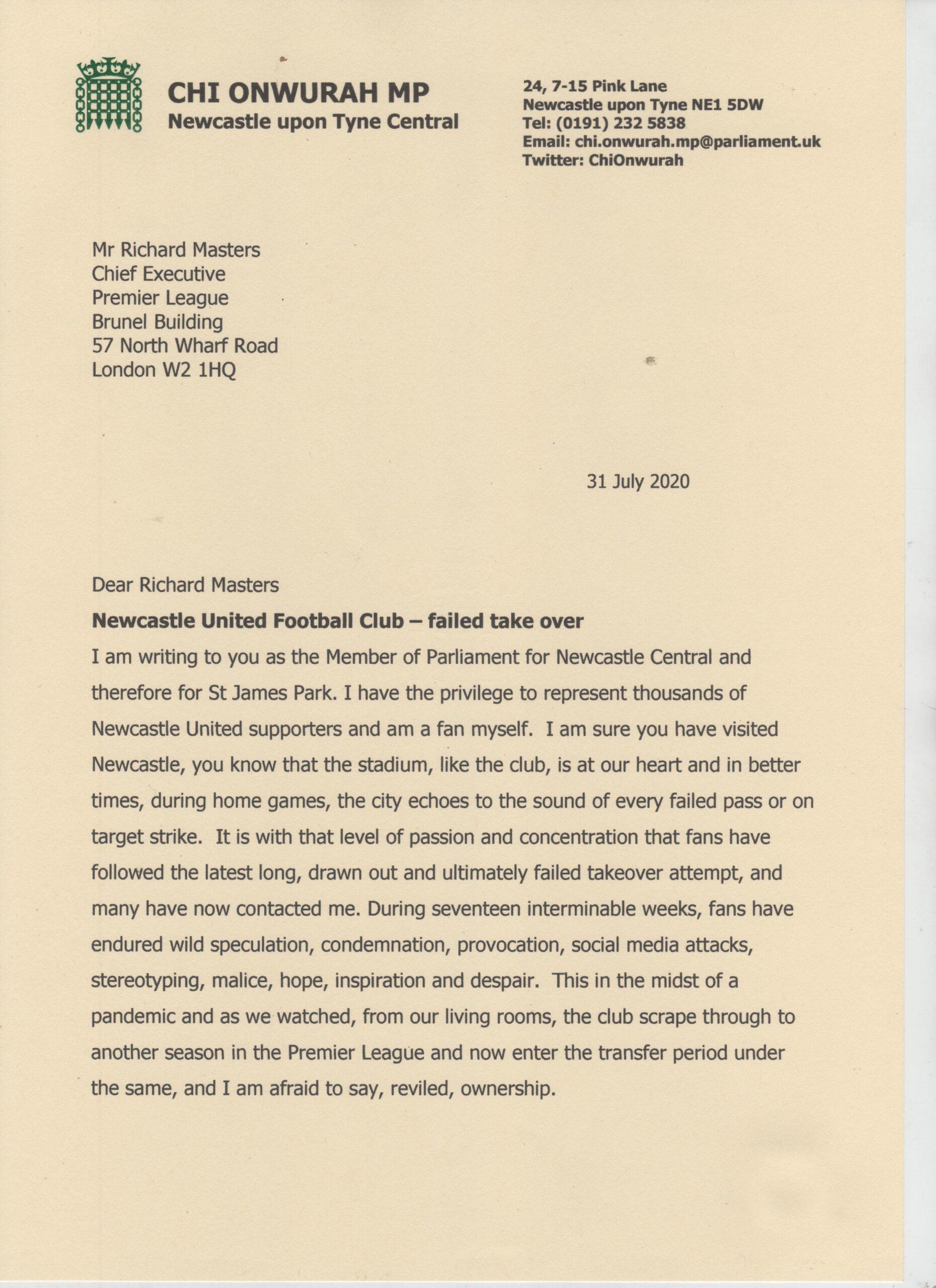 Newcastle United Football Club – failed take over