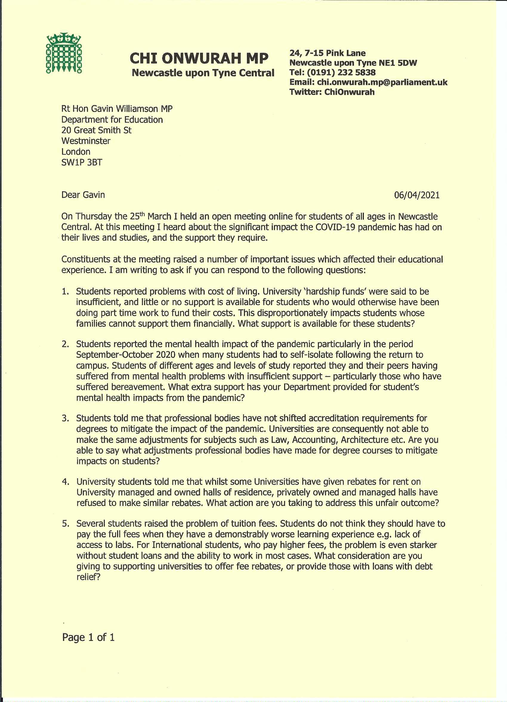 Letter to Gavin Williamson Secretary of State for Education taking up issues after an open online meeting with students
