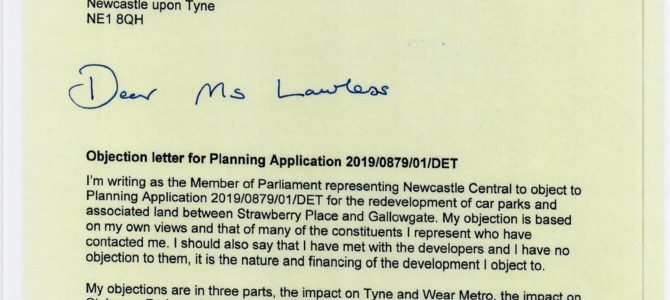 Objections to planning application for land between Strawberry Place and Gallowgate
