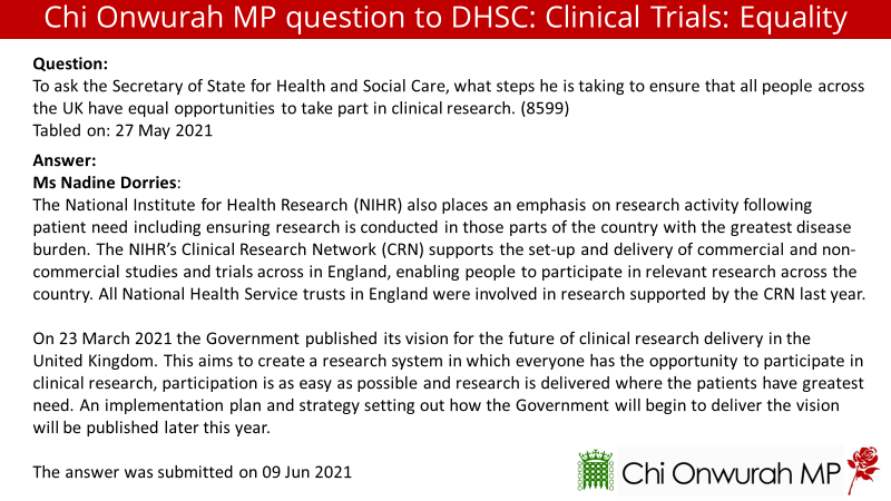 North East has huge health inequalities, it is important we are part of clinical trials for new treatments & medicines