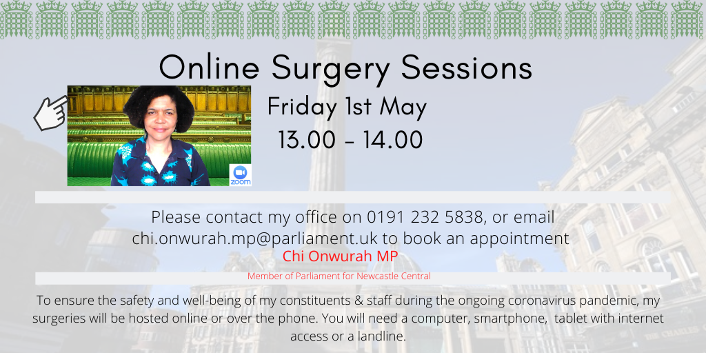 Online surgery sessions Friday 1st May 13.00 – 14.00