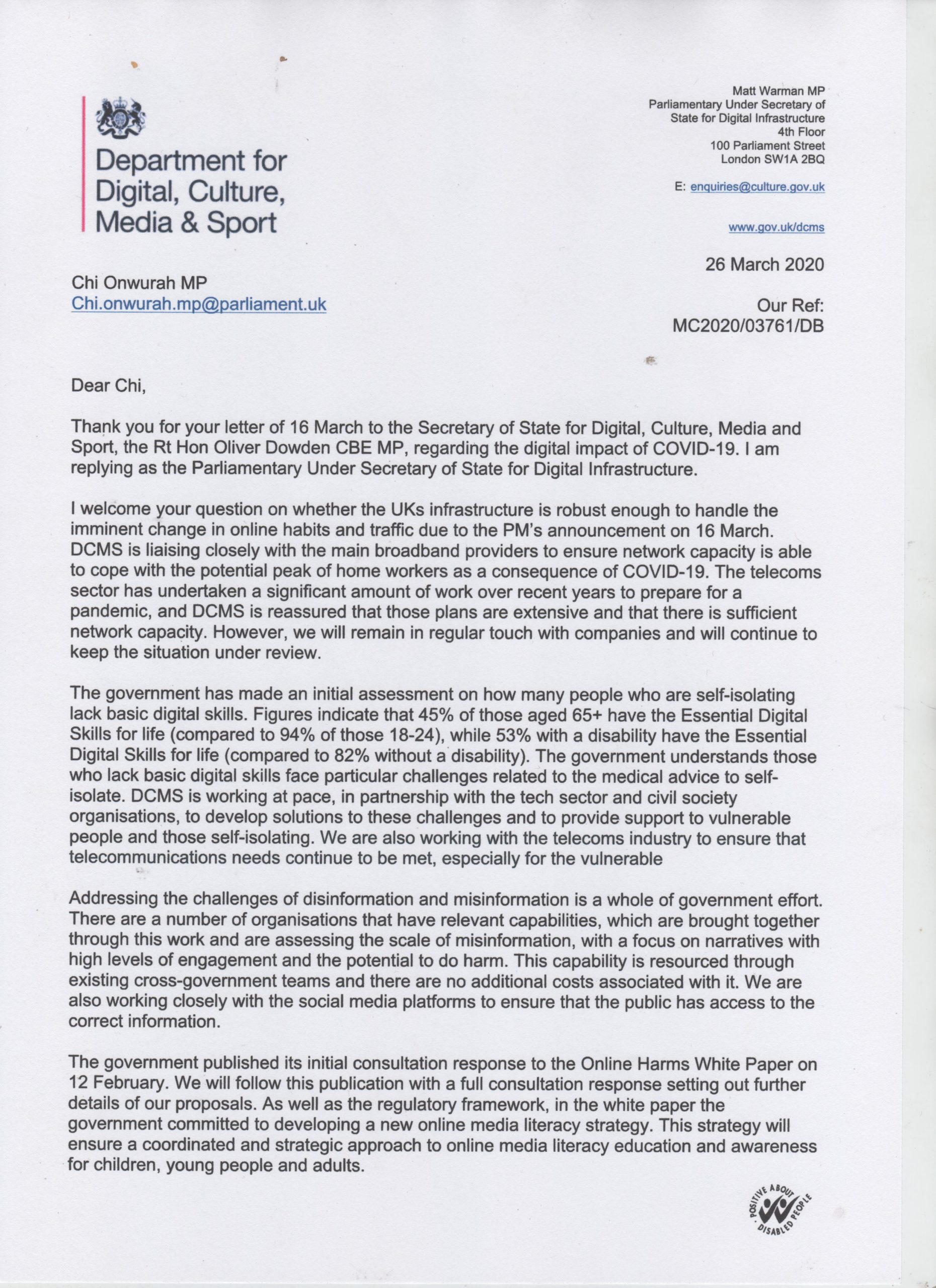 Minister for Digital Infrastructure reply re Corona Virus impact