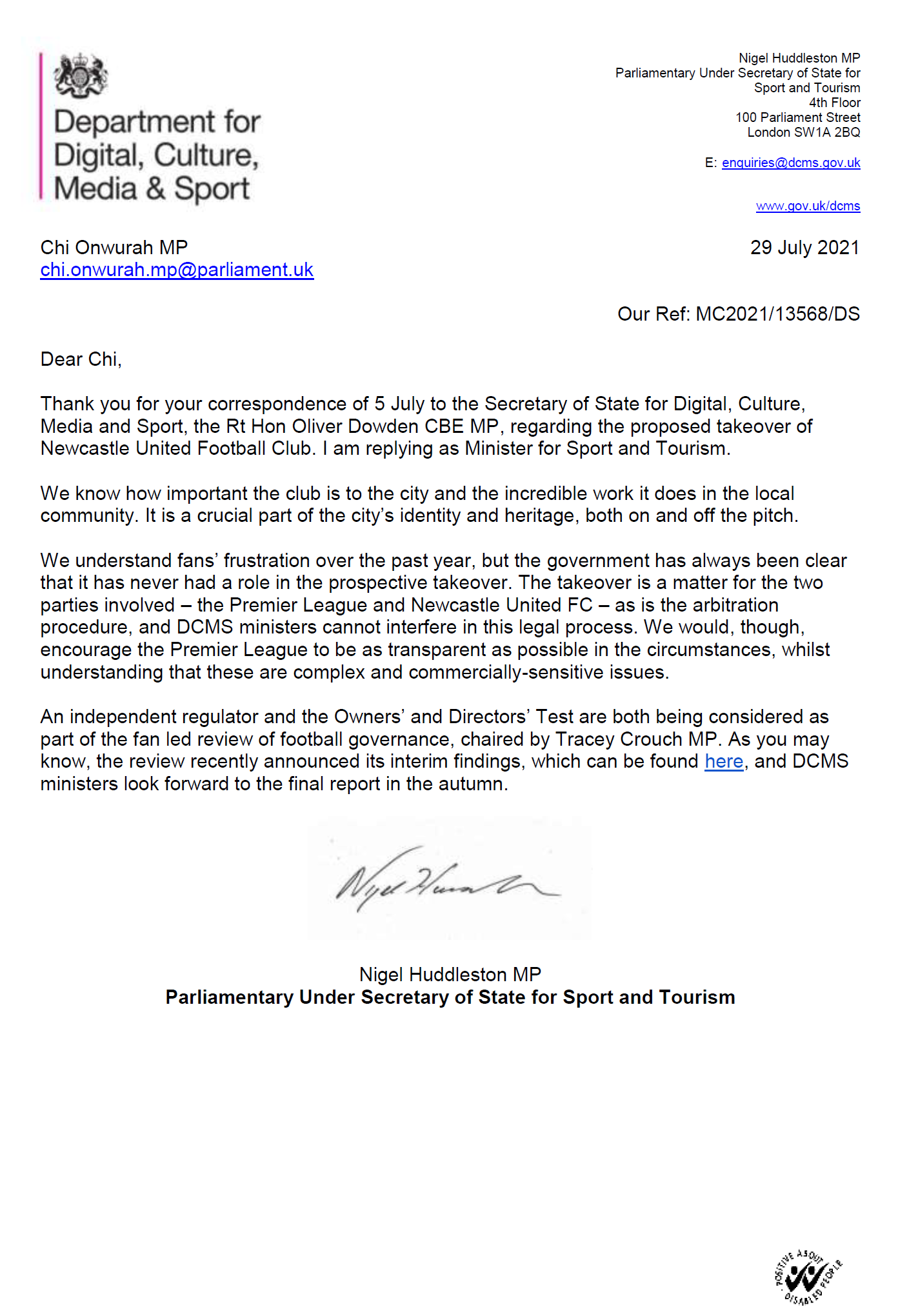 Minister Responds on NUFC Takeover