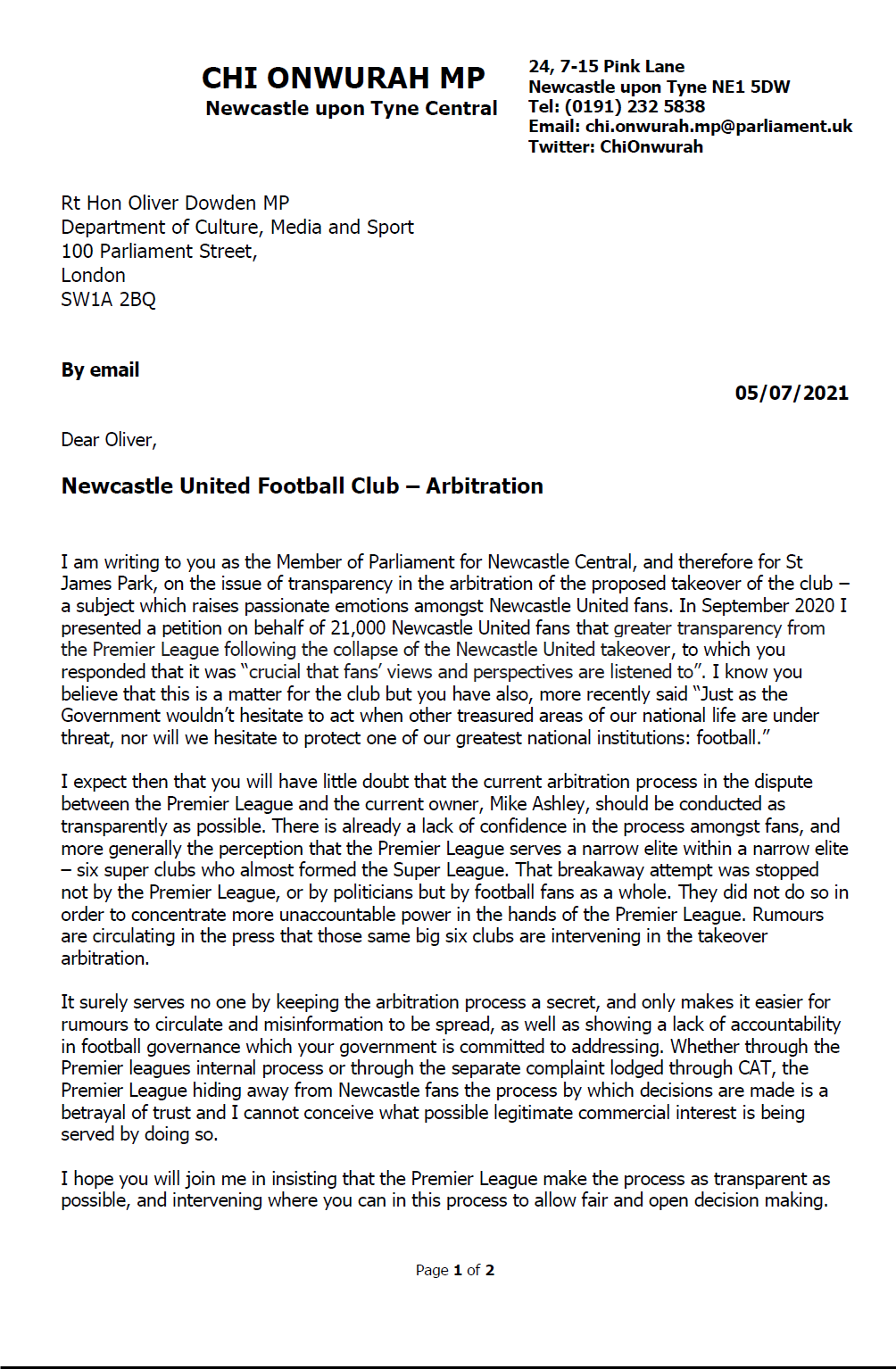 Chi writes to Minister on NUFC takeover arbitration transparency