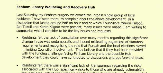 Fenham Library Wellbeing and Recovery Hub