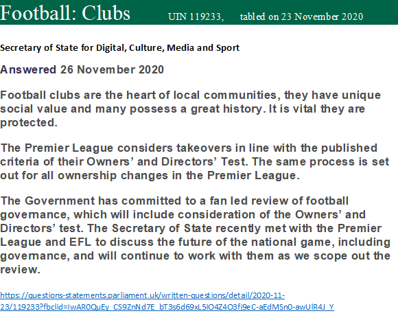 Government response to my question on Premier League  Takeover Policy & NUFC