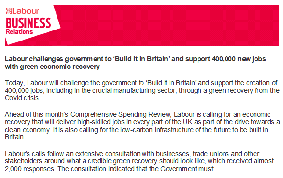 'Build it in Britain' support 400,000 new jobs with green economic recovery