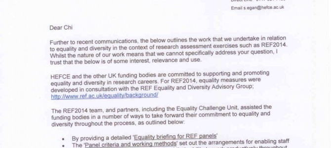 Higher Education Funding Council re equality & diversity