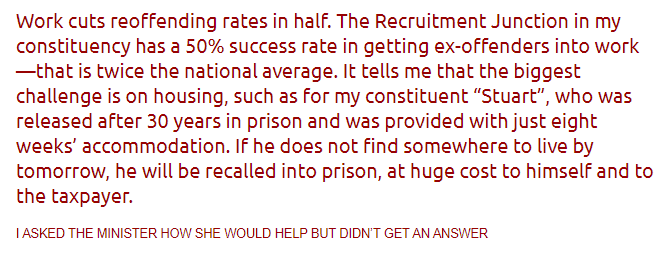Work halves released prisoners reoffending rates – but lack of housing means back to prison @ cost of £40,000 pa