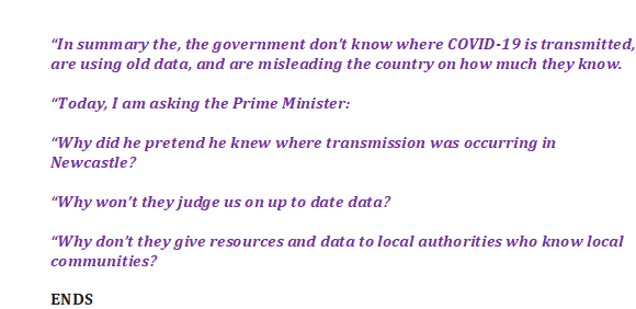 Press release: The PM is misleading us about how much he really knows about Covid-19 transmission.