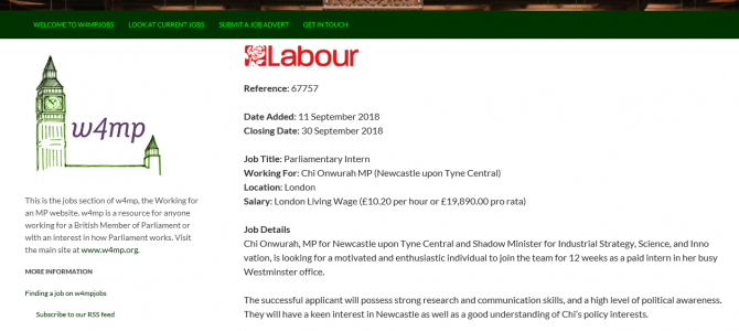 A paid Intern in Westminster  – application invited by 30th September