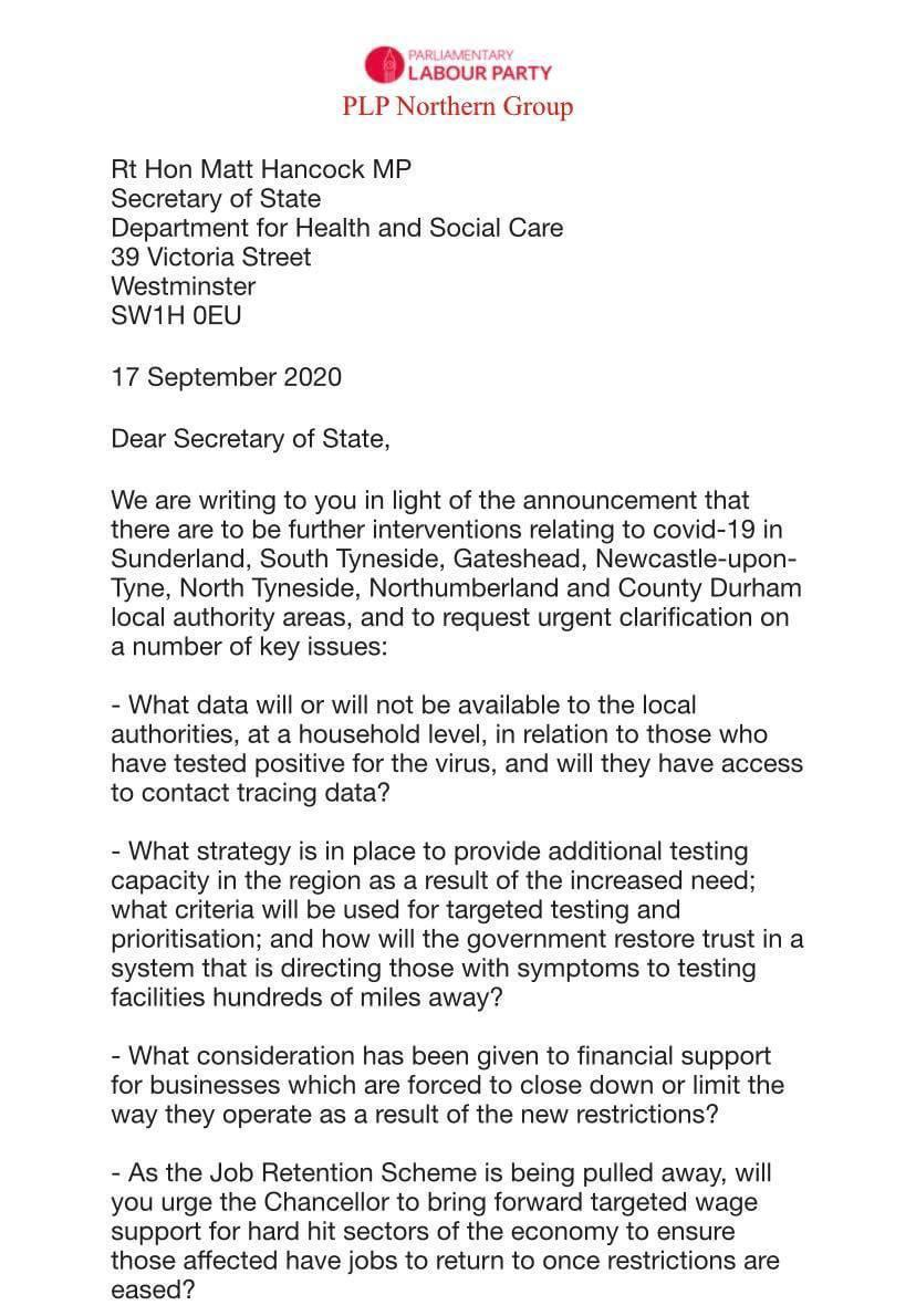 MPS joint letter to Matt Hancock on questions re further covid restrictions in NE