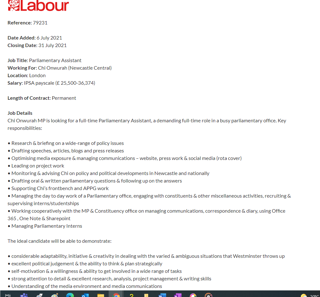 Lat day to Apply to be the Parliamentary Assistant to chi Onwurah MP