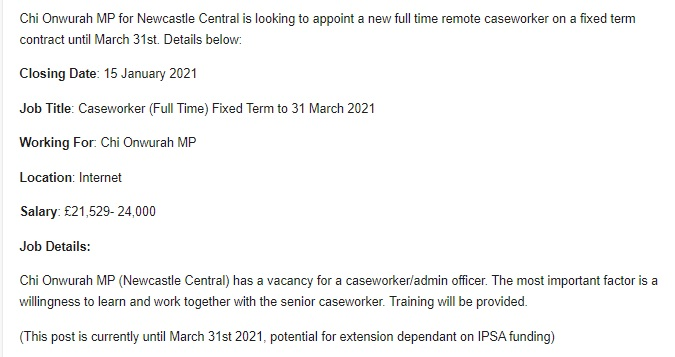 Job Vacancy: Chi Seeks to Appoint New Caseworker for Newcastle Central
