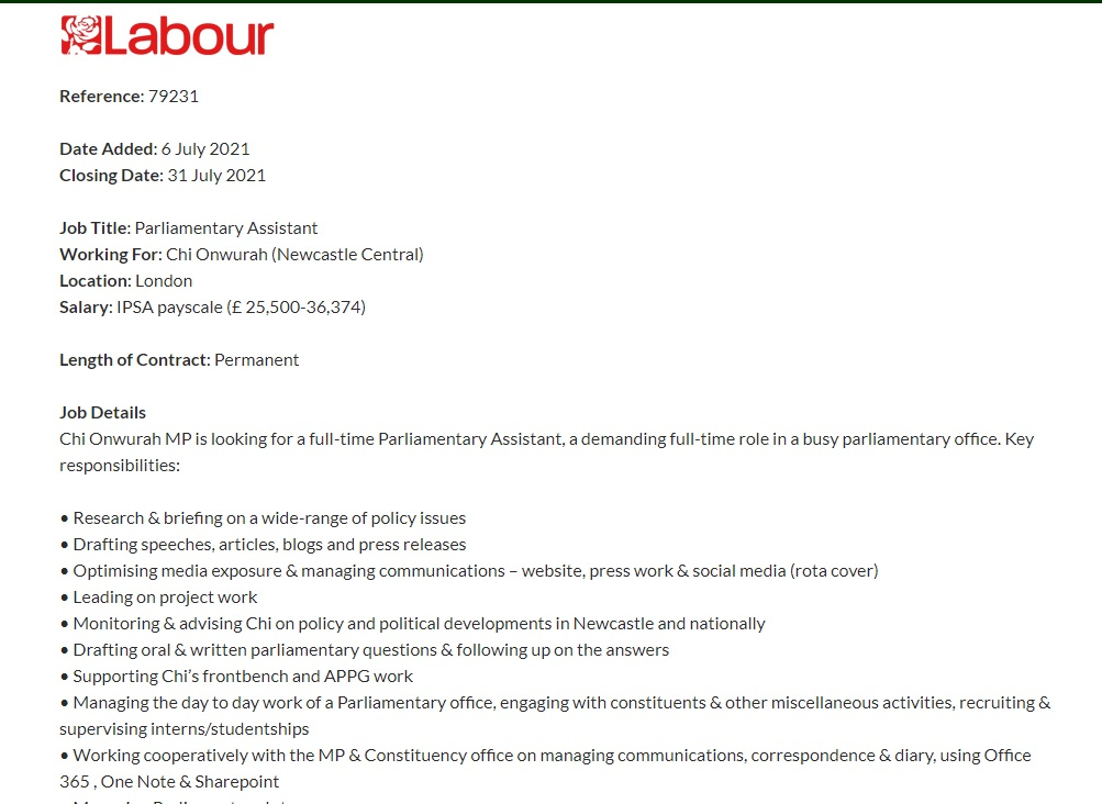 Job Advert : Parliamentary Assistant closing date 31st July 2021