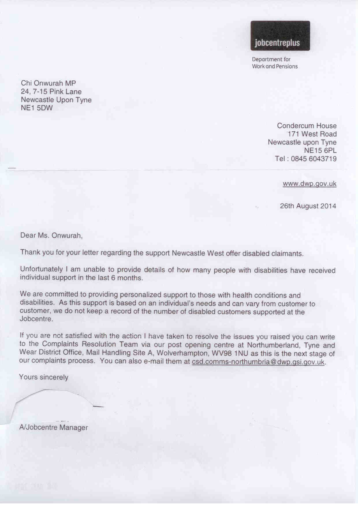 Jobcentre Plus reply regarding support for disabled claimants
