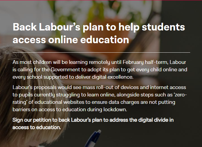 Back Labour's plan to help students access online education