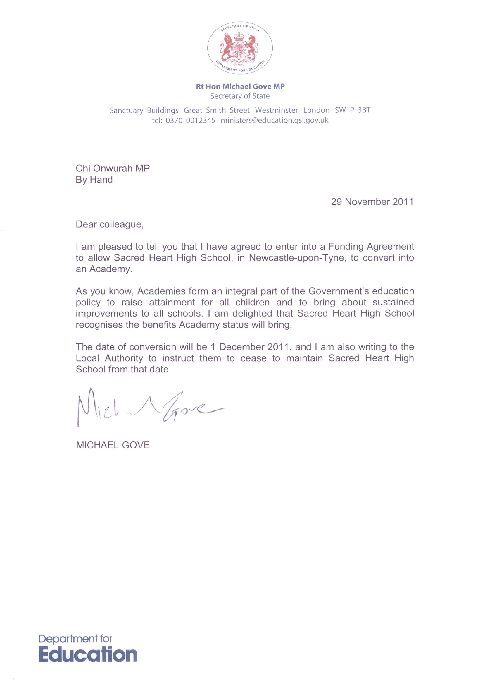 letter to chi from michael gove regarding sacred heart