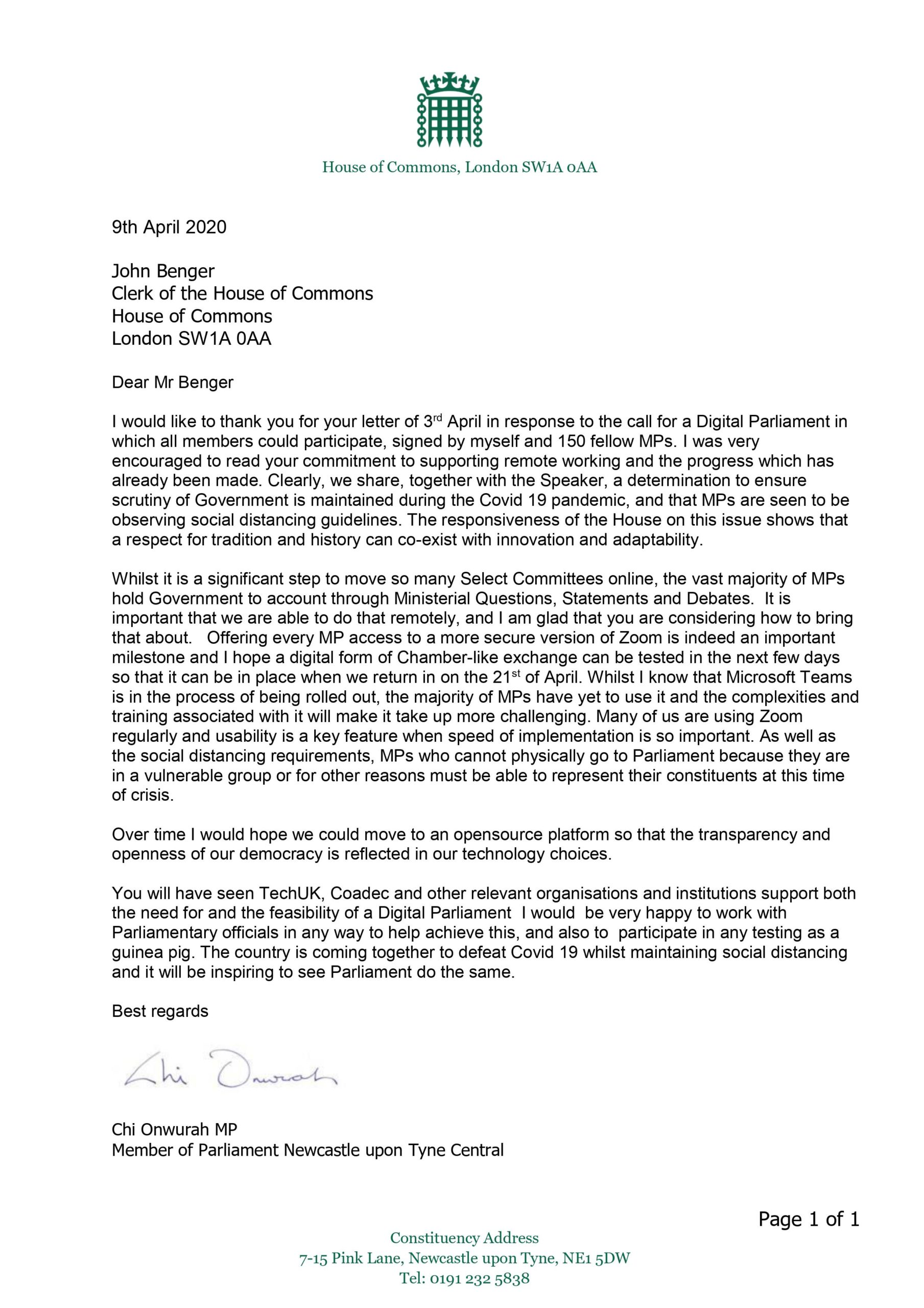 Chi responds to the Clerk of the House of Commons regarding a digital parliament