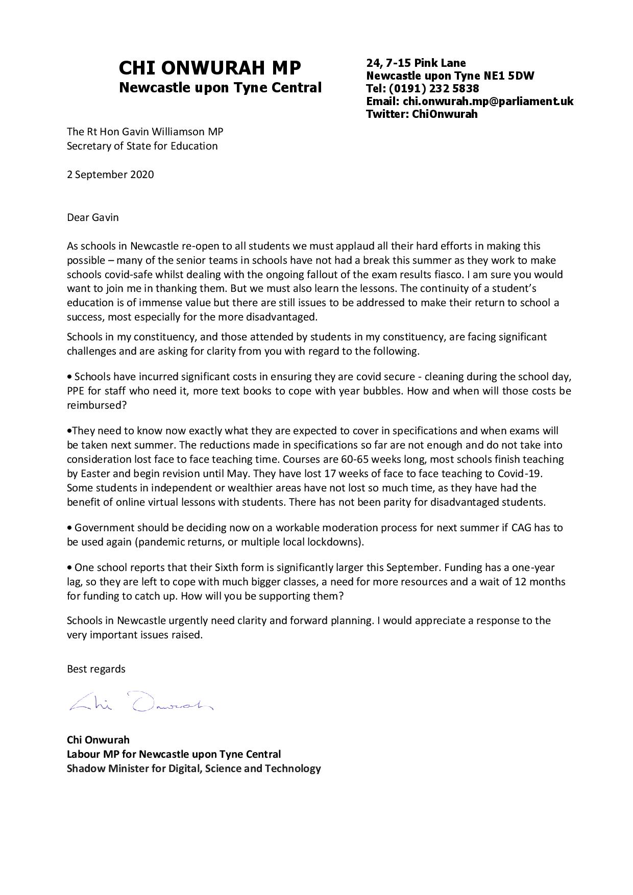 Chi writes to the Education Secretary about Newcastle school reopening