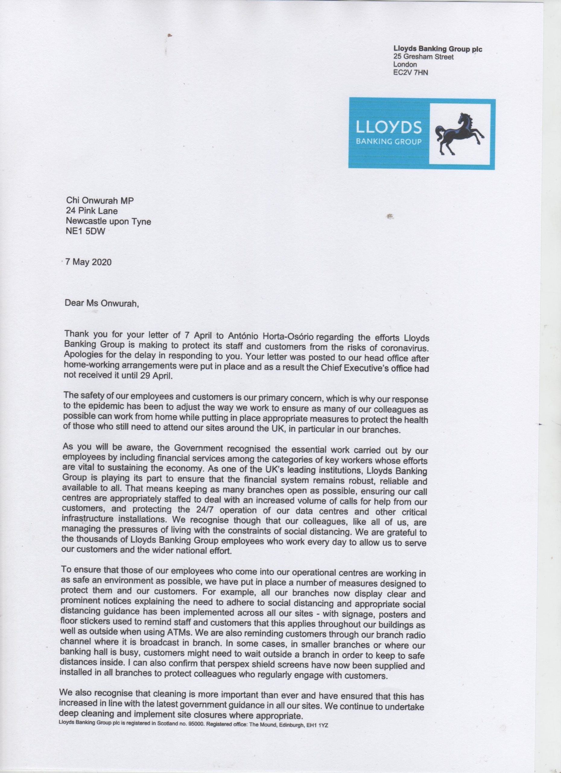 Lloyds Bank reply regarding staff and customer covid safety