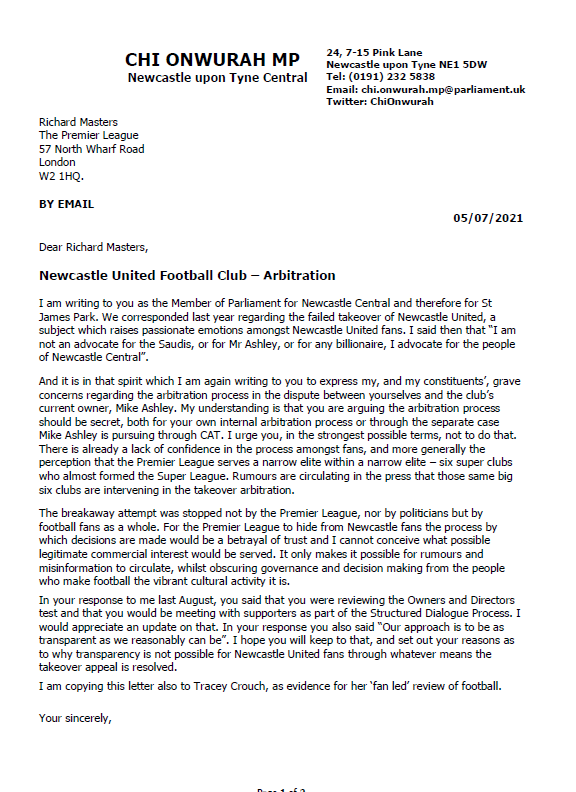 Chi writes to Premier League on transparency for NUFC takeover arbitration