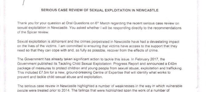 Minister of Justice reply – Serious Case Review of Sexual Exploitation in Newcastle