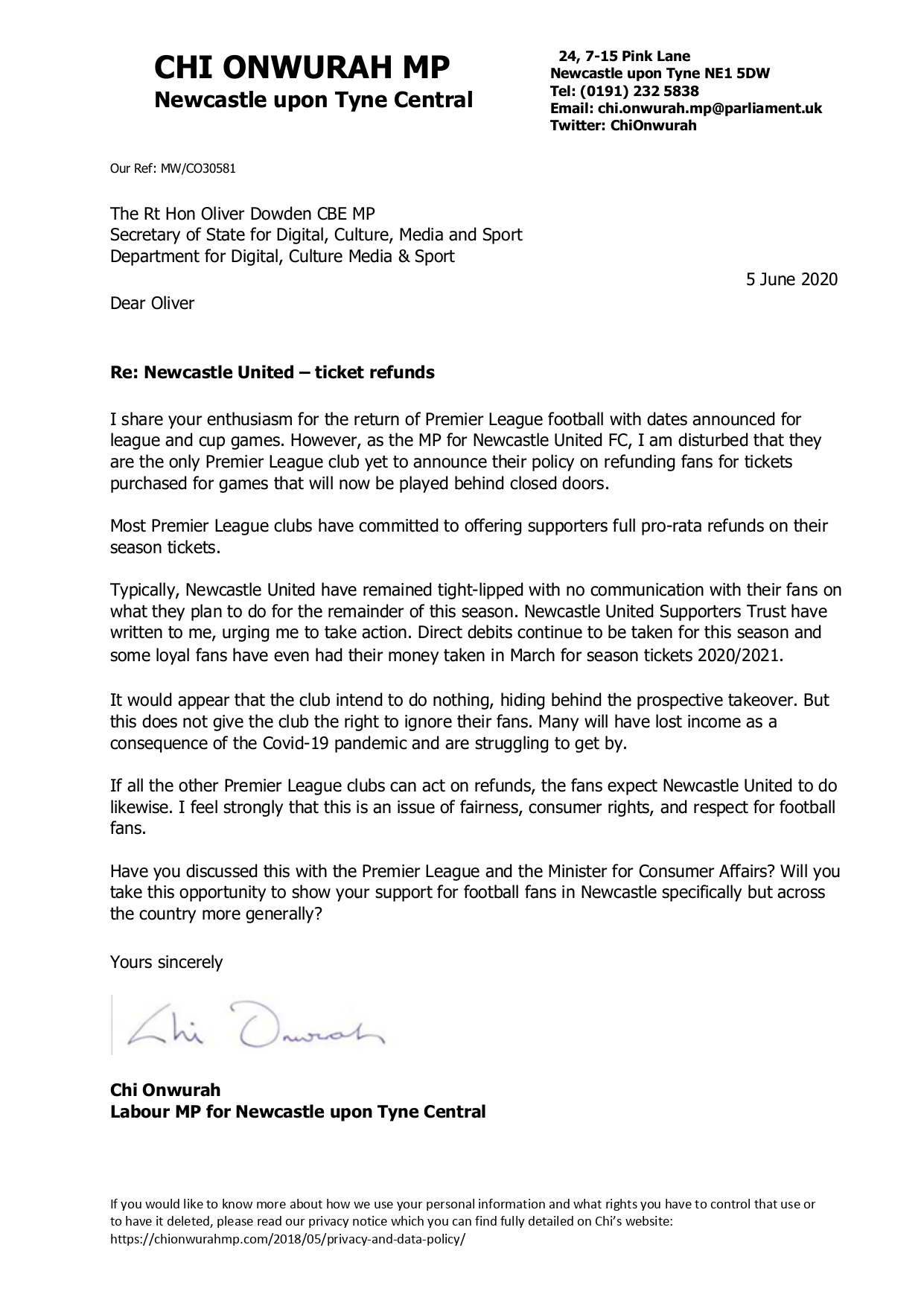 Chi writes to the Secretary of State calling for NUFC Ticket refunds