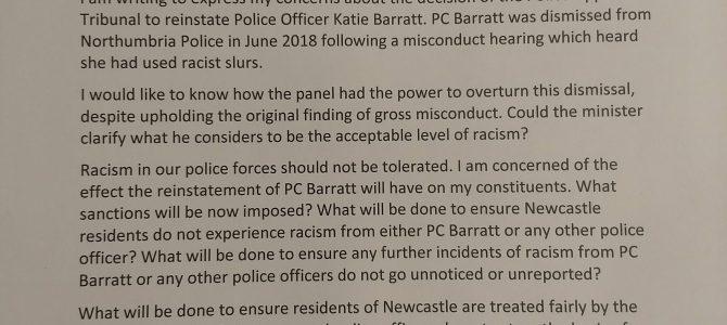 Concerns regarding reinstatement of Police Officer who made racist slurs