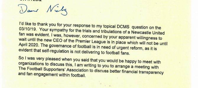 Letter to Nicky Morgan MP Secretary of State at DCMS regarding football governance