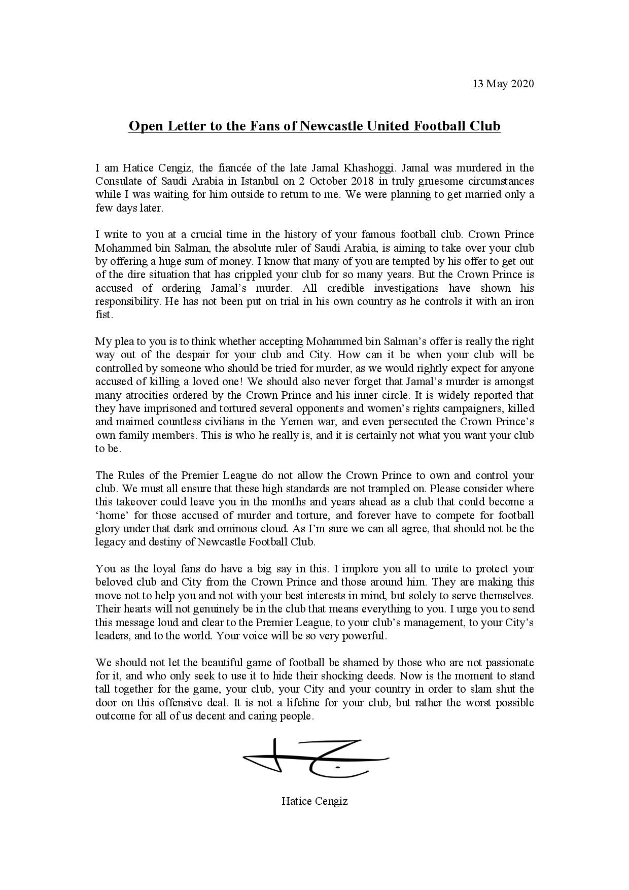 Open letter from Hatice Cengiz to Newcastle United fans