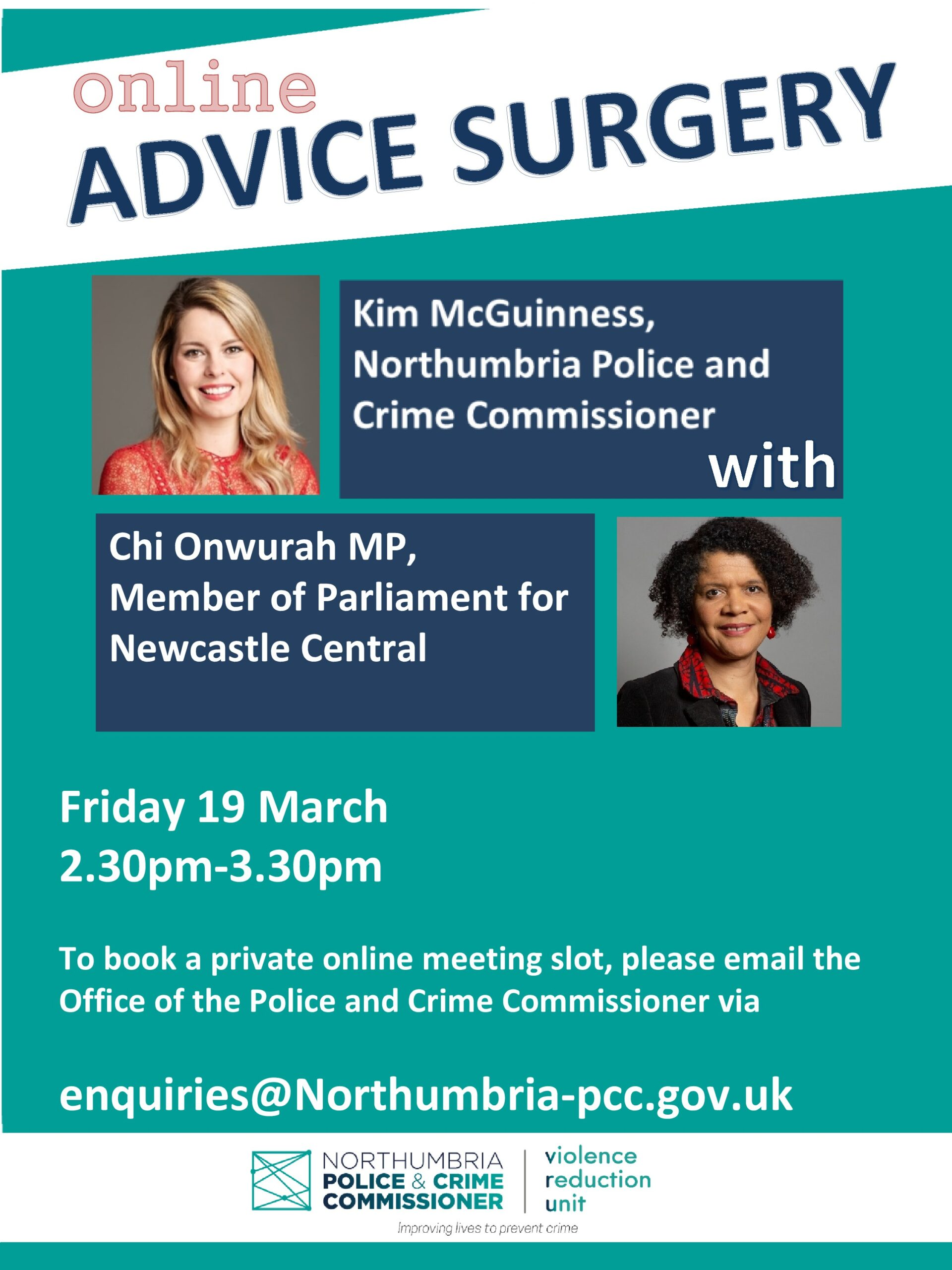 Special online surgery with the Police &Crime Commissioner for Northumbria