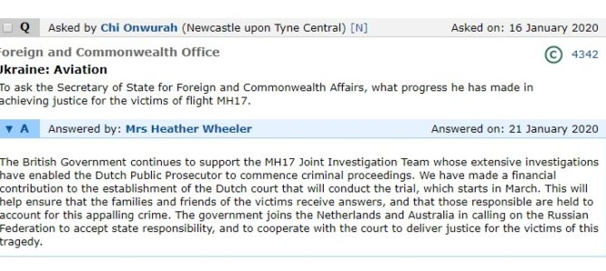 Flight MH17 question in Parliament
