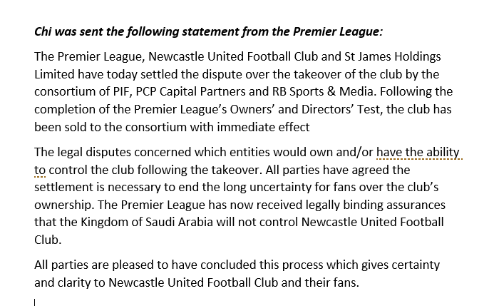 Statement from Premier League on NUFC takeover