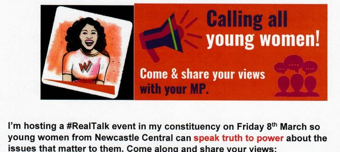 Real Talk event for young women in Newcastle Central on International Women's Day