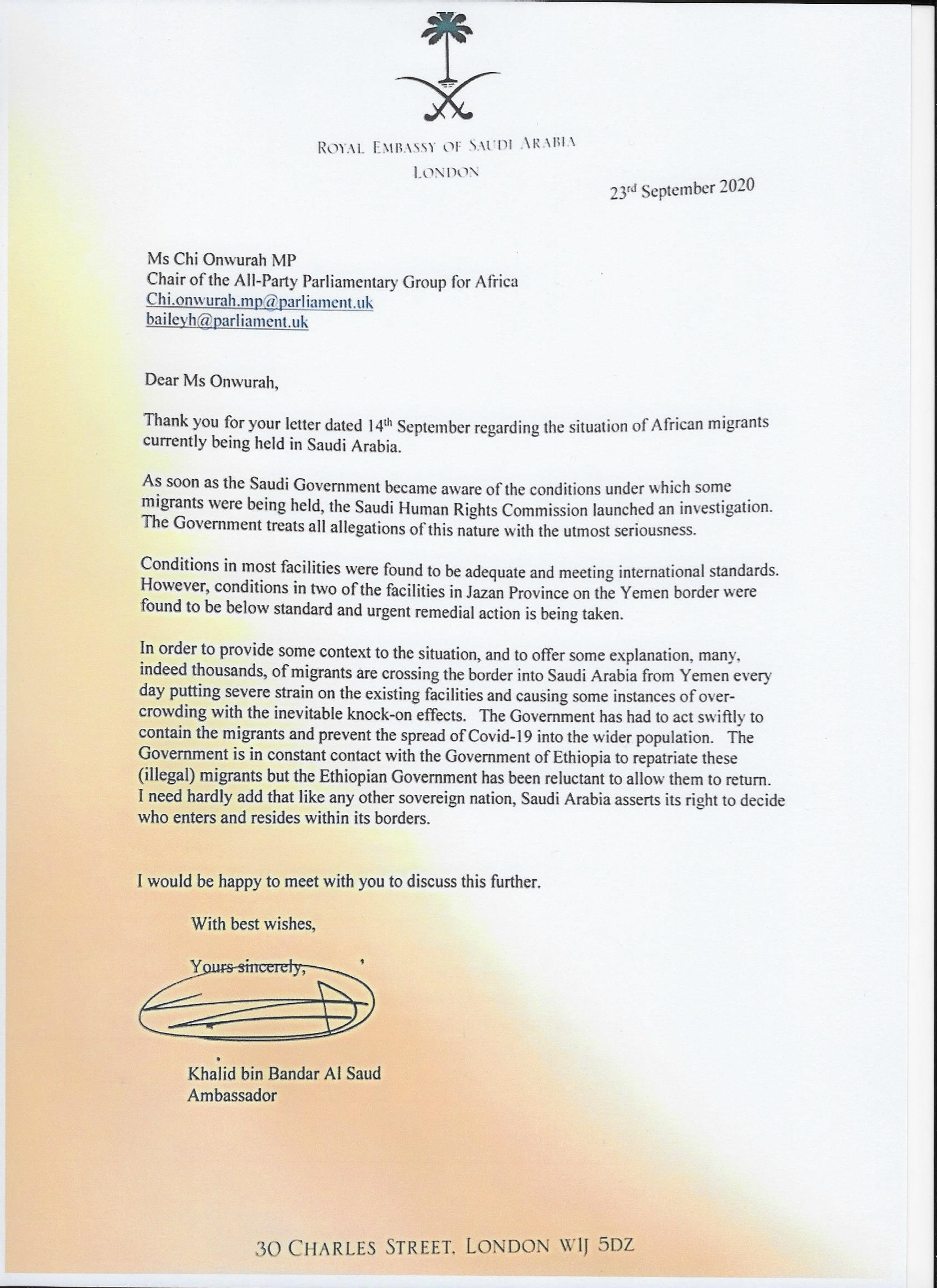 Letter from the Ambassador of Saudi Arabia re migrants