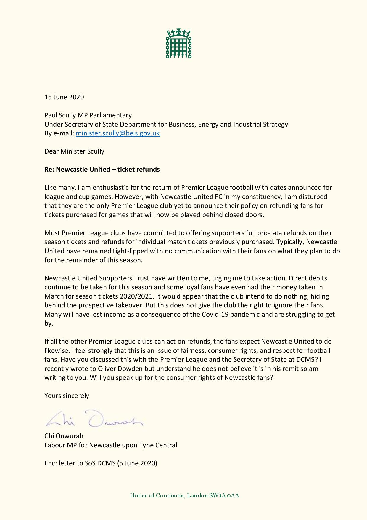 Chi writes to Under Secretary of State for BEIS urging action over NUFC ticket refunds