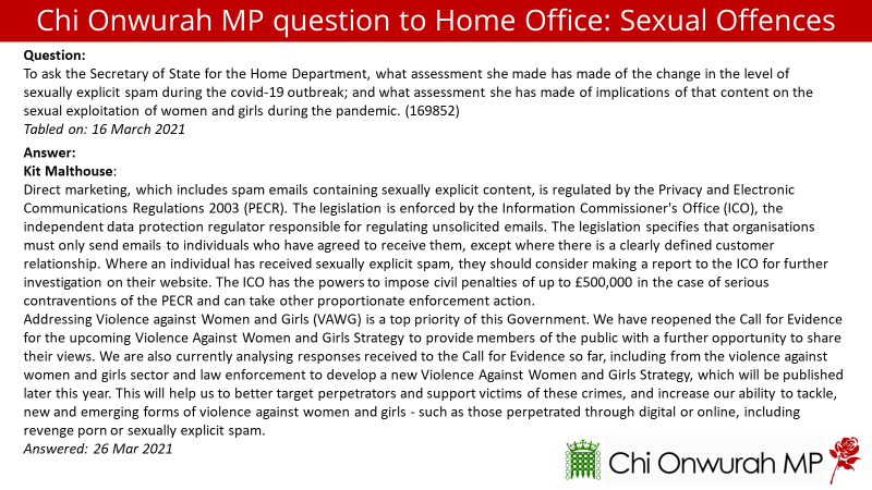 Minister apparently has no view on whether sexually explicit spam has increased during lockdown
