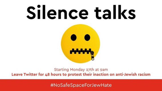 I'll be off @Twitter for 48 hours to protest the place allowed to #Antisemitism & other forms of racism