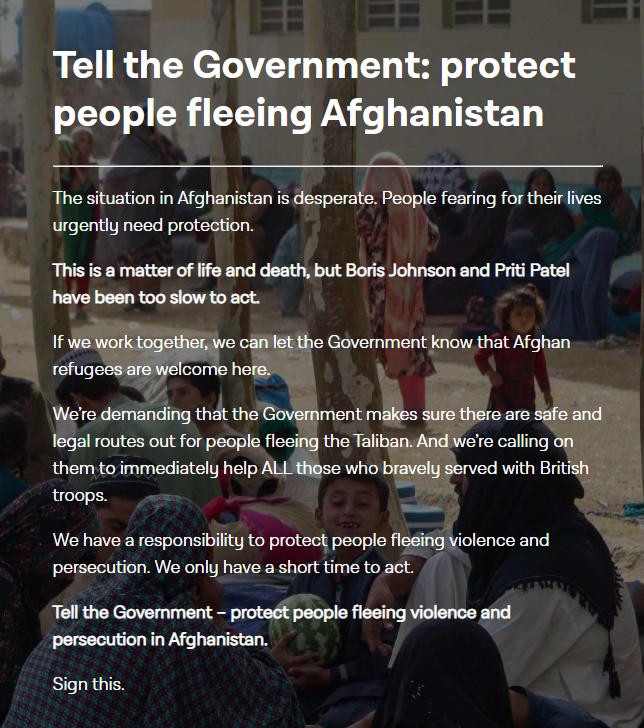 Protect people fleeing Afghanistan – petition